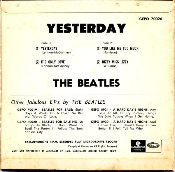 Yesterday EP rear cover, 1966.