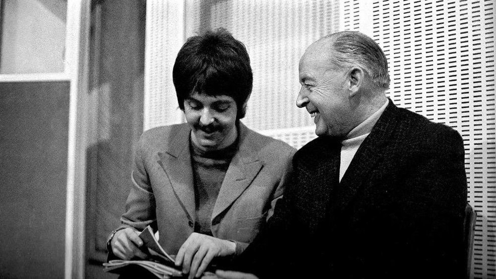 Paul McCartney with his father Jim at a Sgt Pepper's Lonely Hearts Club Band session, 1967.