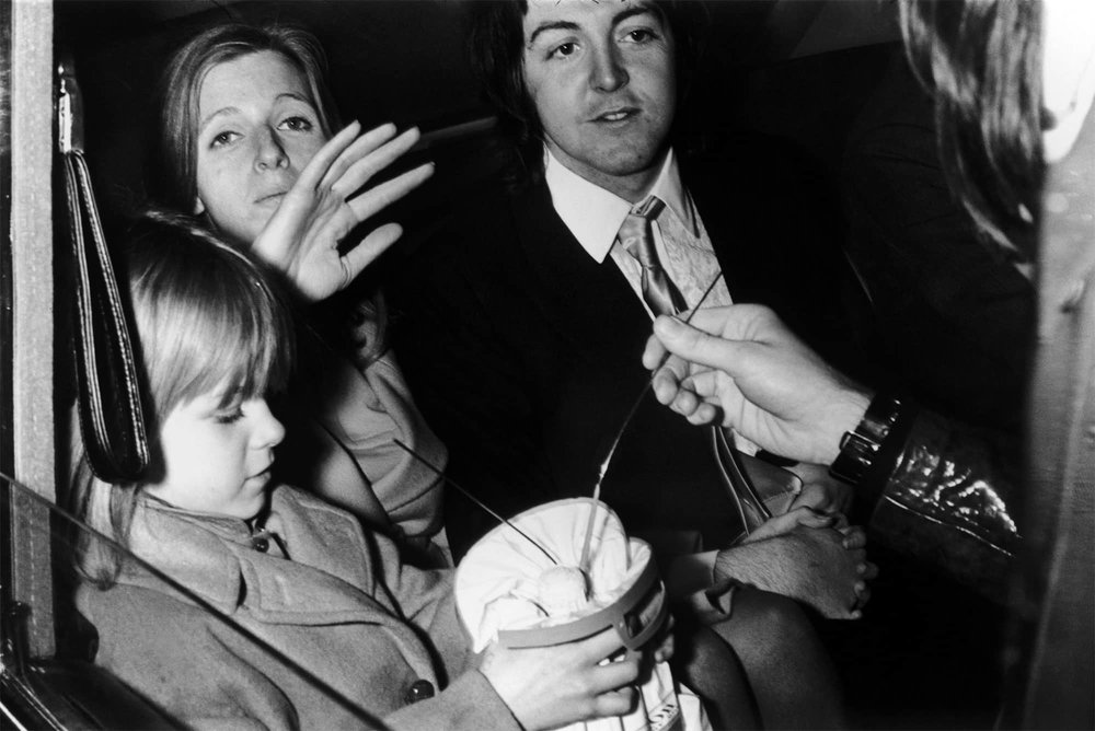 Paul, Heather and Linda McCartney, March 12th 1969.