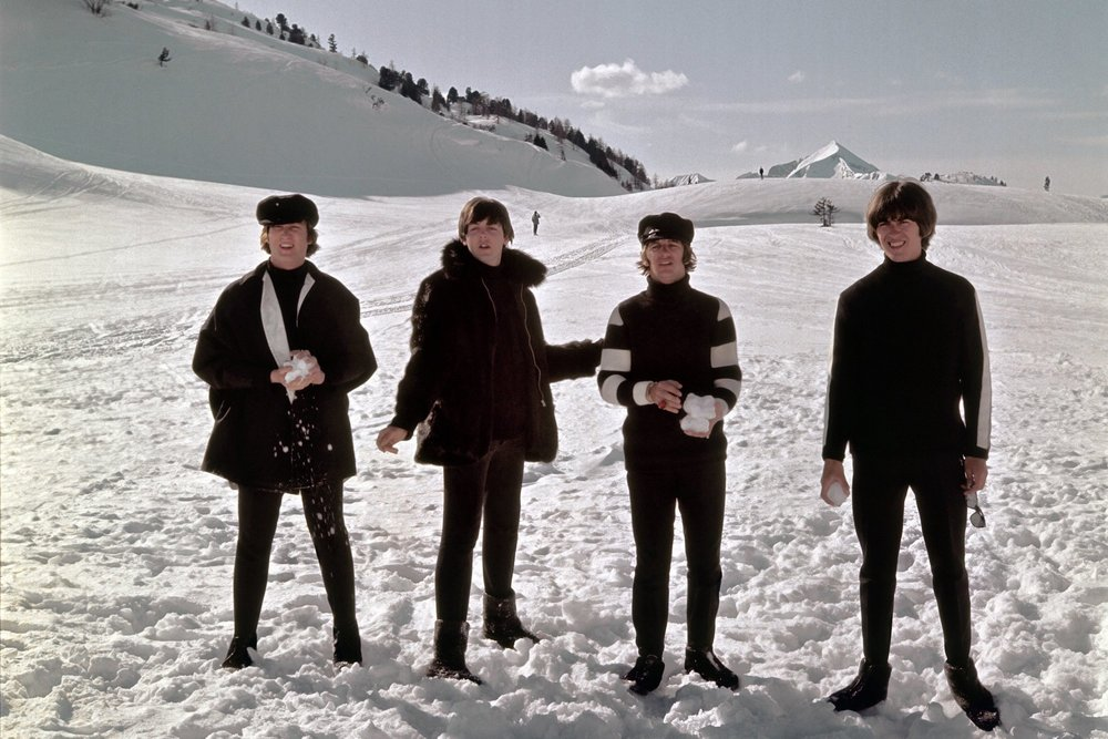 The Beatles filming Help! in Austria, 1965.