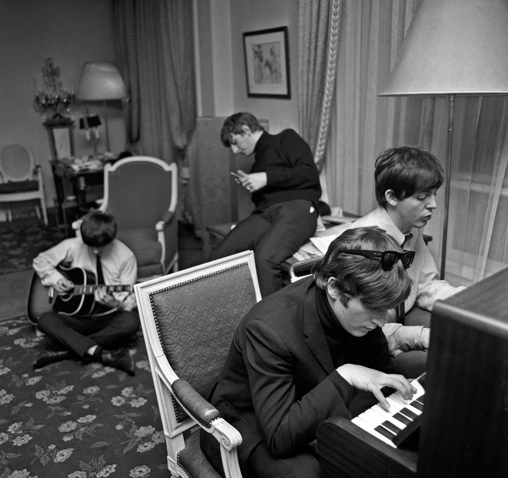 The Beatles at the George V Hotel, Paris, January 1964.