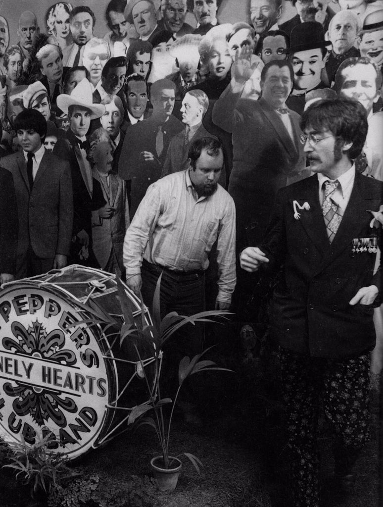 John Lennon and Peter Blake working on figures for the Sgt. Pepper cover, March 1967.