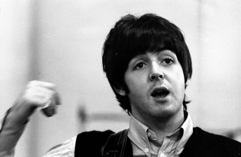 Paul McCartney at a Revolver recording session, 1966.