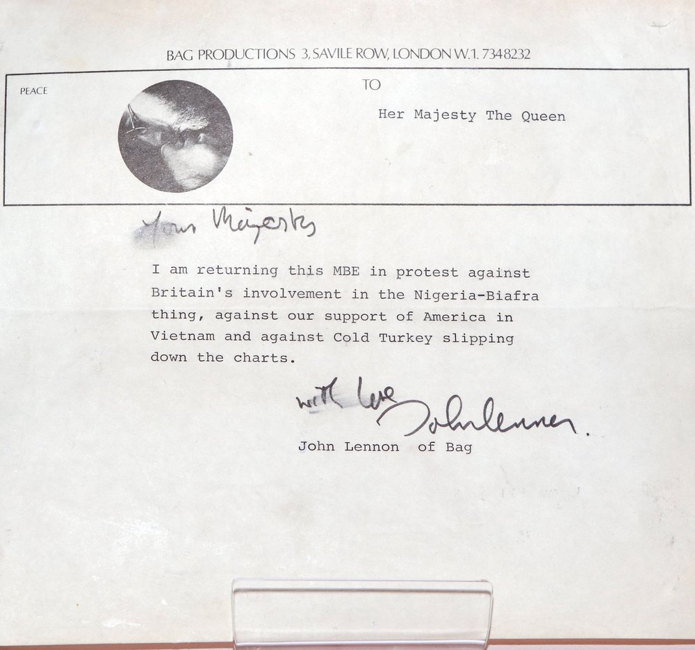 John Lennon's letter to The Queen, returning his MBE.