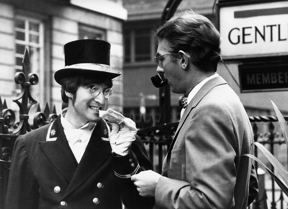 John Lennon filming a skit for Not Only... But Also with Peter Cooke, November 27th 1966.