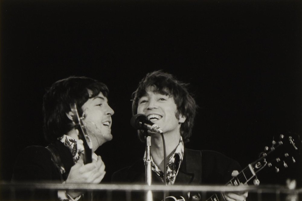 Paul McCartney and John Lennon at Candlestick Park, San Francisco, August 29th, 1966.