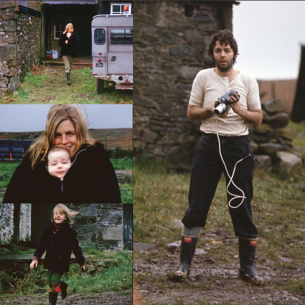 Paul, Linda, Mary and Heather McCartney circa 1970.