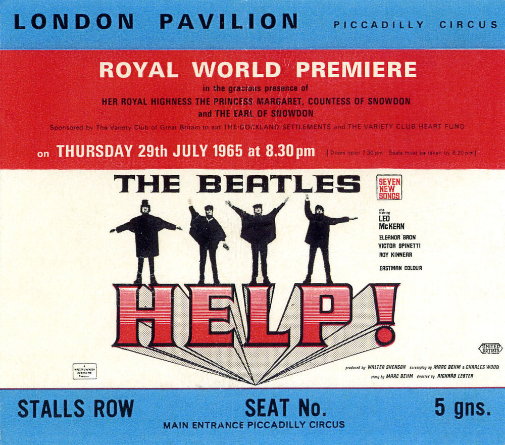 Ticket for the World Premiere of Help! July 29th 1965.