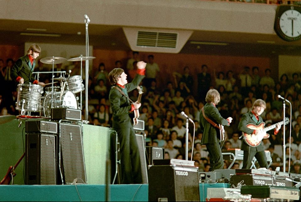 The Beatles play the Budokan Hall, Tokyo, June 1966.