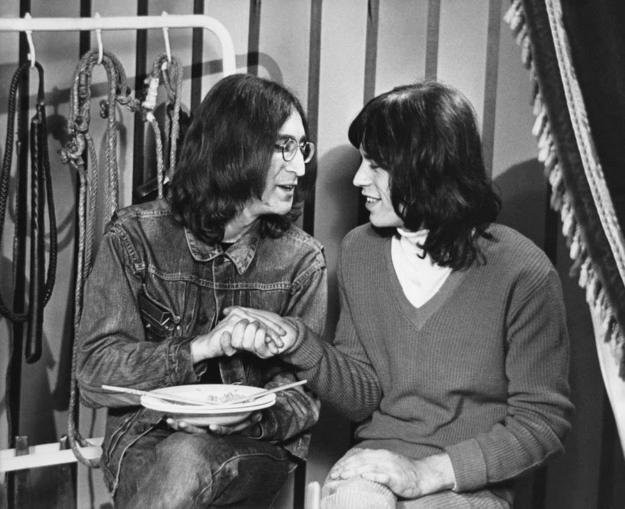 John Lennon and Mick Jagger at the Rolling Stones' Rock and Roll Circus, December 11th 1968.