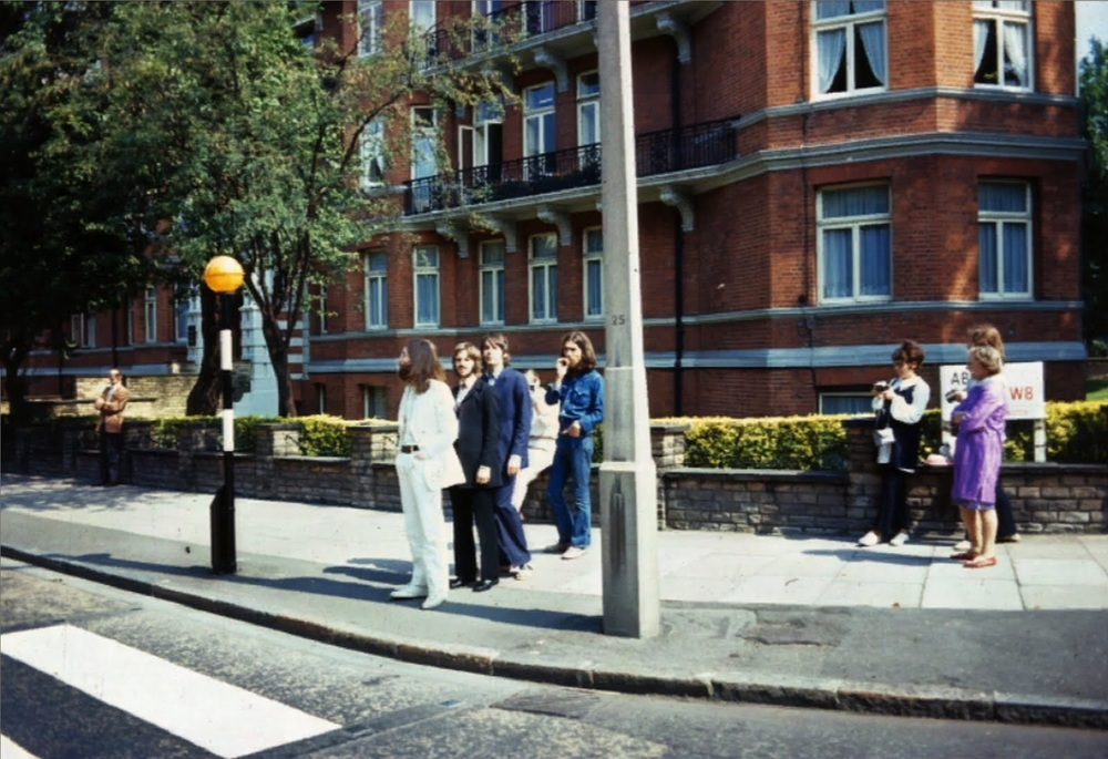 The Beatles preparing to cross Abbey Road, August 8th 1969.