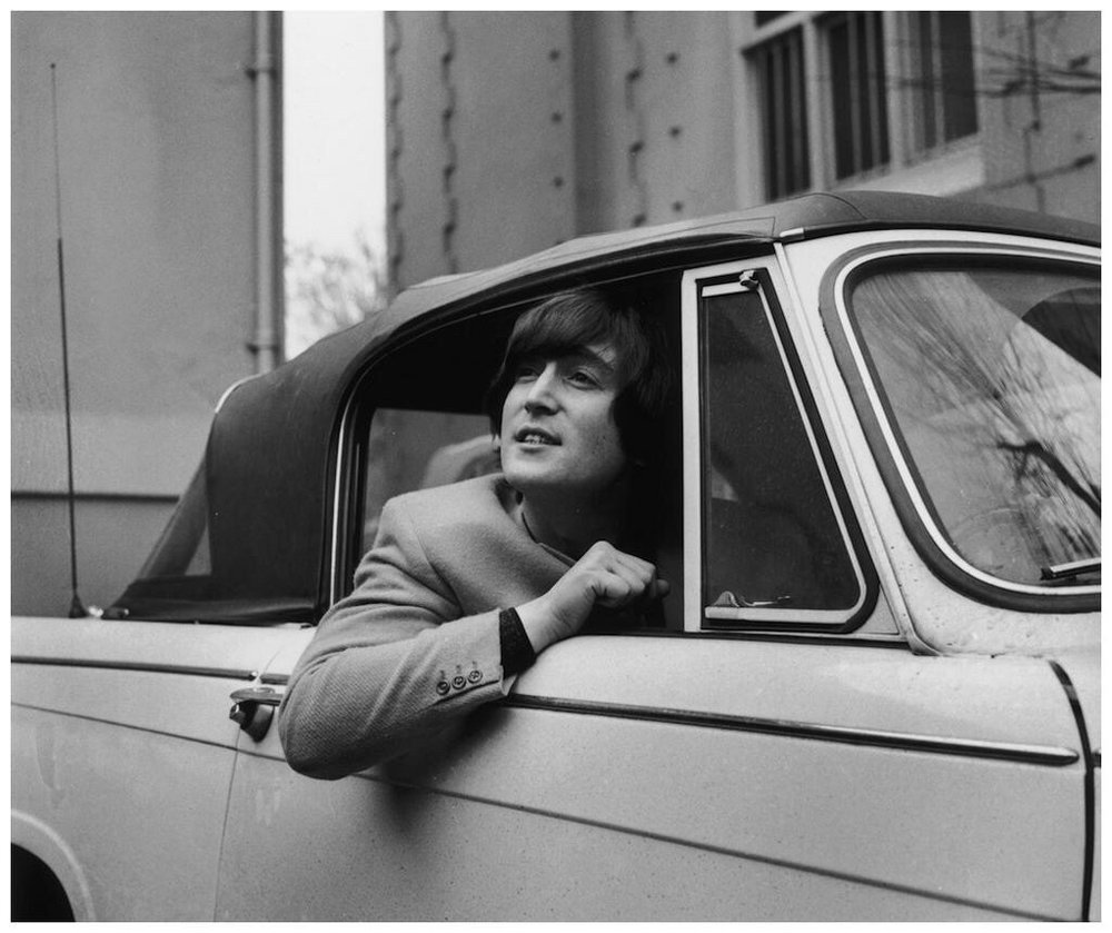 John Lennon shorly after passing his driving trst, 1965.