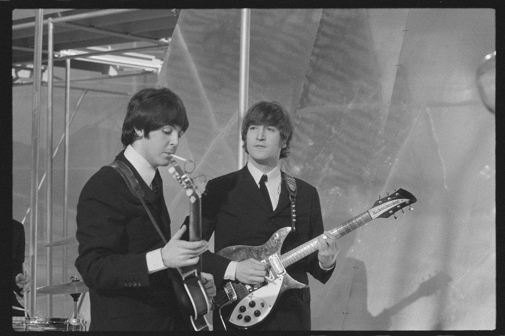 John Lennon and Paul McCartney on The Music of Lennon and McCartney TV Show, 1965.