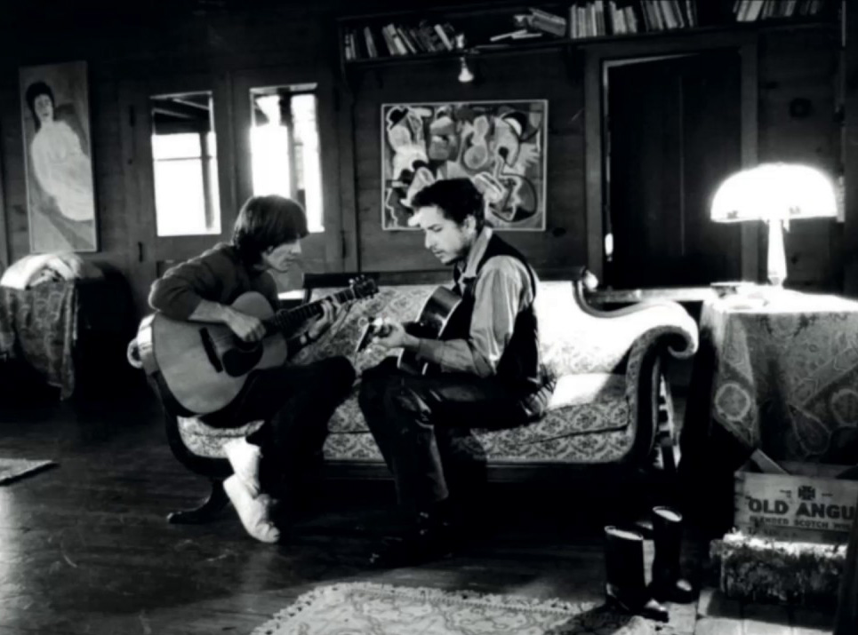 George Harrison jamming with Bob Dylan in New York, 1968