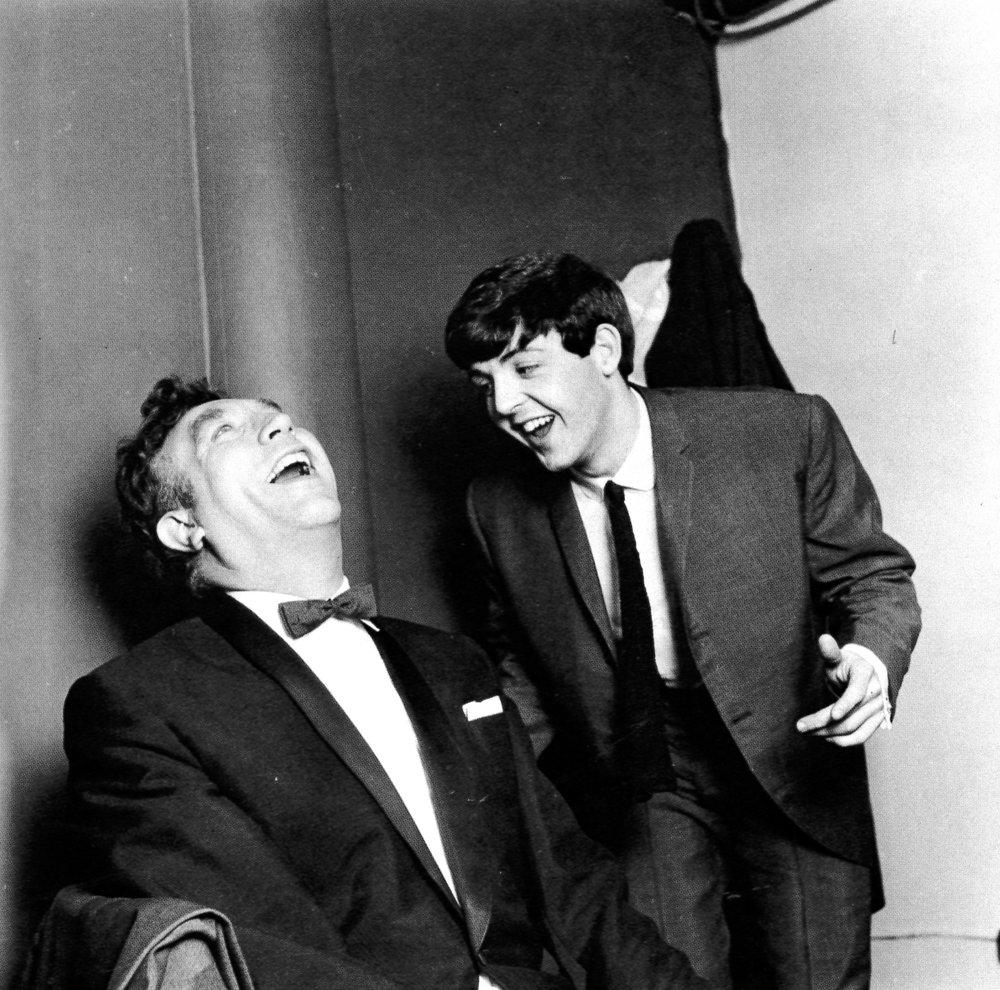 Paul McCartney with comedian Frankie Howerd 1963 - photo by Dezo Hoffman.