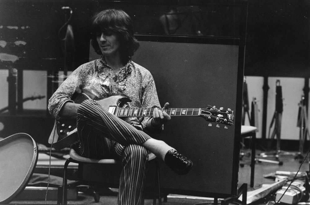 George Harrison at Trident Studios, 1968.