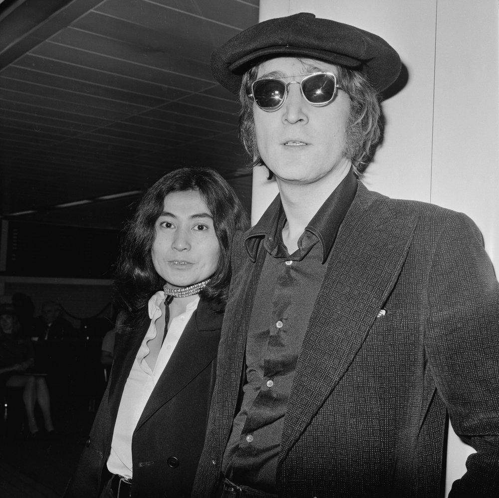 John Lennon and Yoko Ono at Heathrow Airport, 1971.