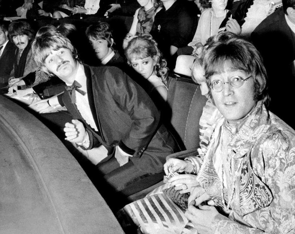 John Lennon, Paul McCartney, George Harrison with Ringo and Maureen Starr at the premiere of How I Won the War, October 18th 1967.
