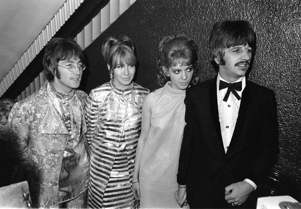 John and Cynthia Lennon with Ringo and Maureen Starr at the premiere of How I Won the War, October 18th 1967.