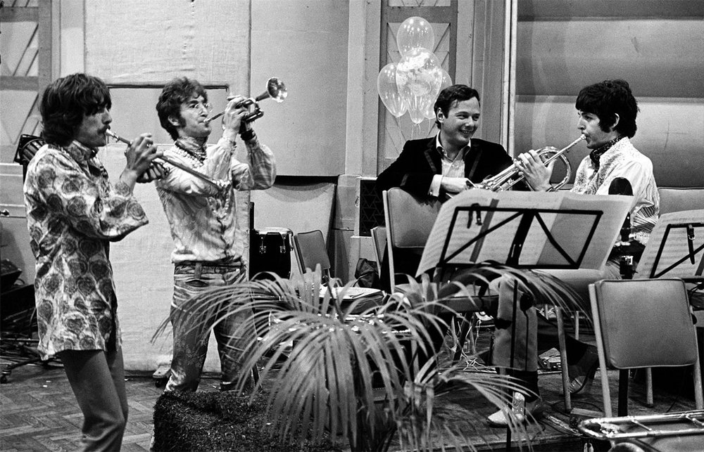 John Lennon, Paul McCartney and George Harrison with Brian Epstein, rehearsing for the All You Need Is Love satellite broadcast, 1967.