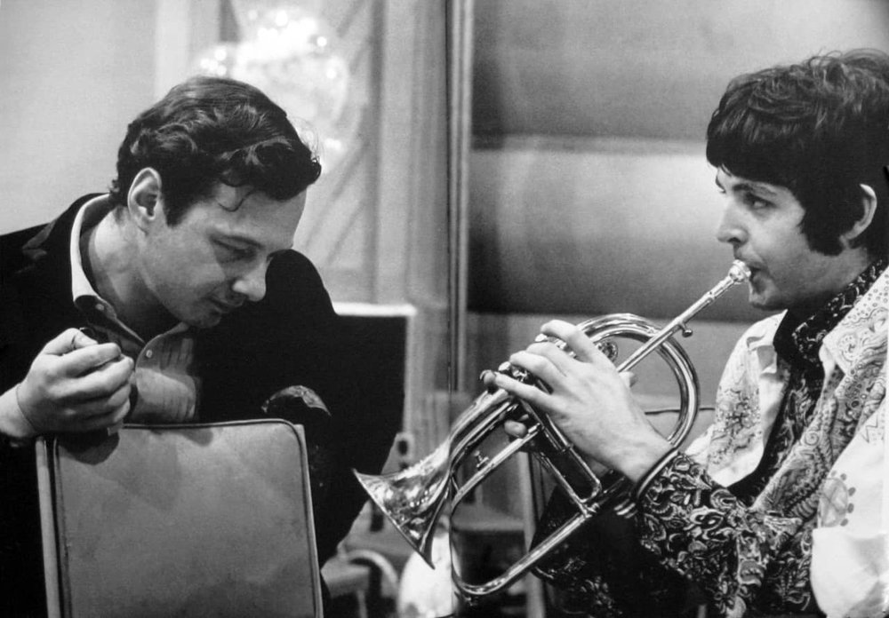 Paul McCartney with Brian Epstein, rehearsing for the All You Need Is Love satellite broadcast, 1967.