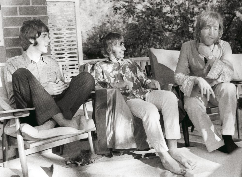 Paul McCartney, Ringo Starr & John Lennon in India, 1968.