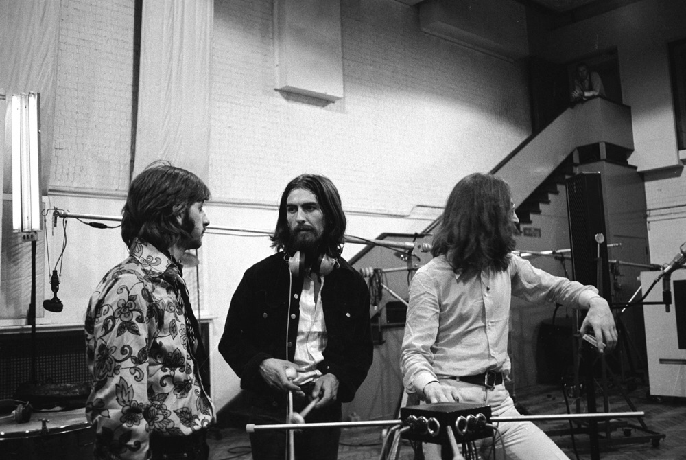 Ringo Starr, George Harrison and John Lennon recording Abbey Road, 1969.