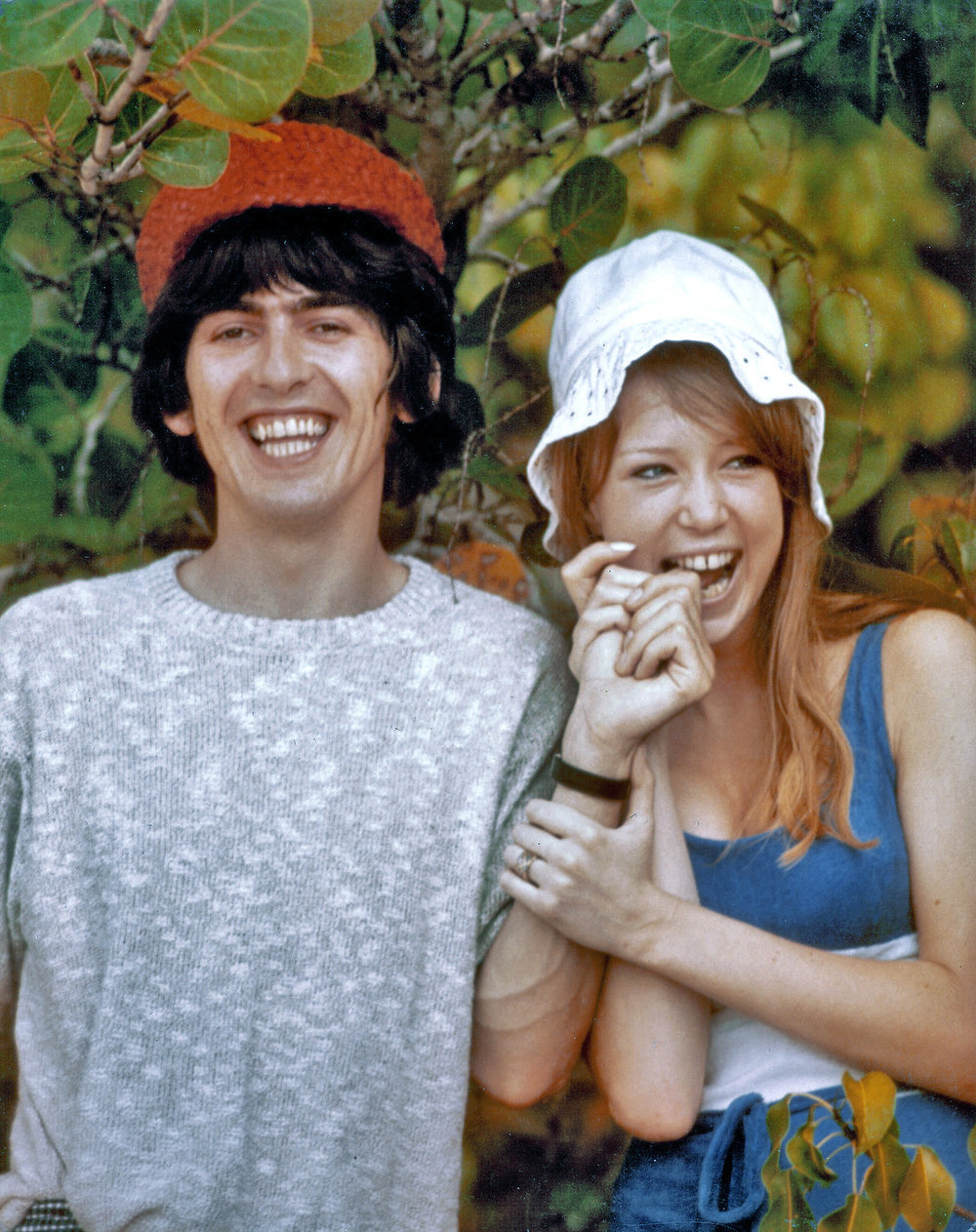 Pattie Boyd with George Harrison in Barbados, February 1966.