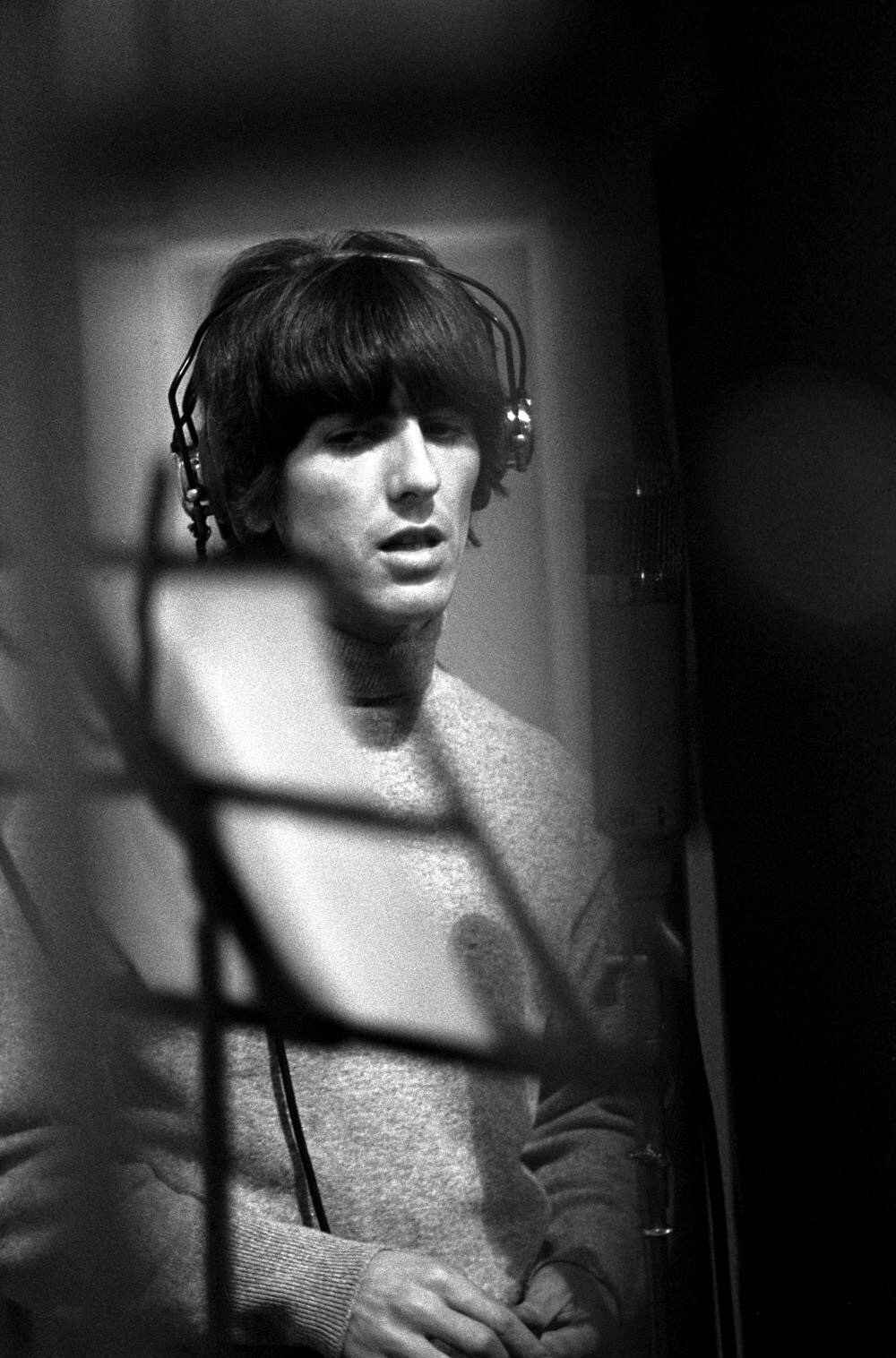 George Harrison at a Revolver recording session, 1966.