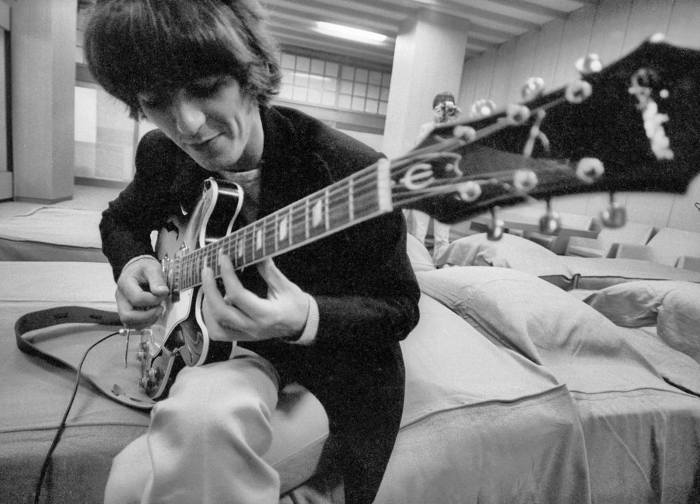 George Harrison backstage at the Budokan Hall, Tokyo, June 1966.