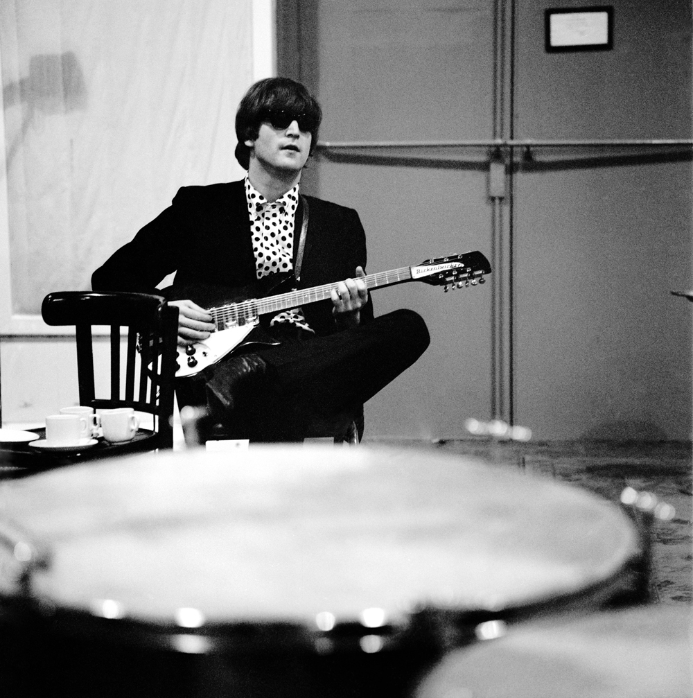 John Lennon recording Beatles for Sale at Abbey Road, 1964.