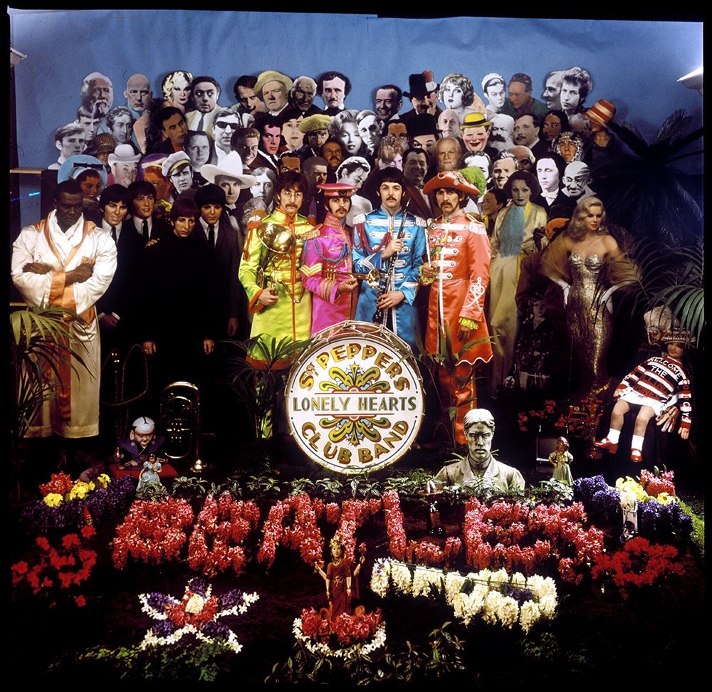 Alternate shot of the Sgt. Pepper's Lonely Hearts Club Band cover, March 1967.