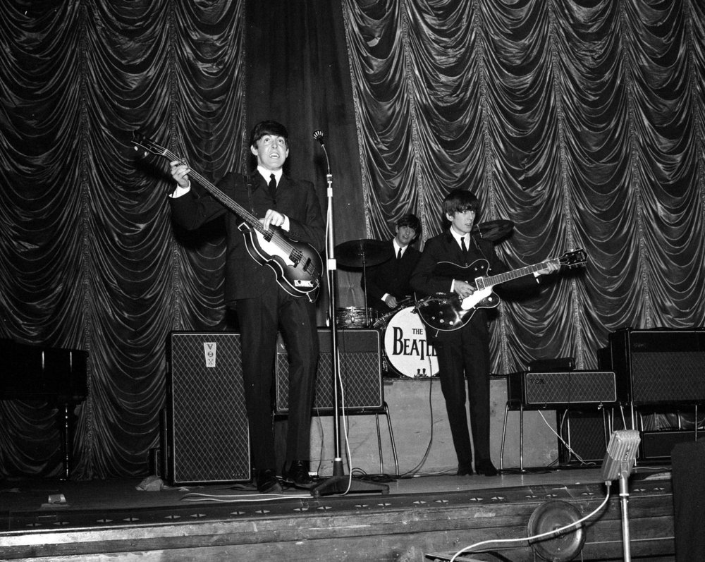 The Beatles on stage during their gig in Plymouth. 13th November 1963