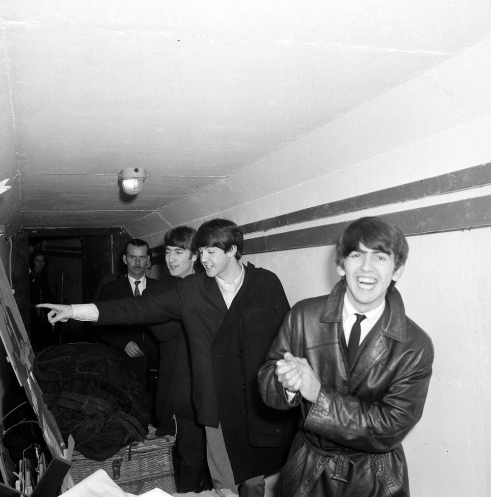 Plymouth 13th November 1963. John Lennon,Paul McCartney and George Harrison fooling around in Plymouth.