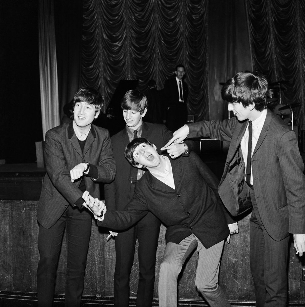 The Beatles Autumn Tour of Great Britain at the ABC Plymouth. (picture shows band members from left to right) John Lennon, Ringo Starr, Paul McCartney and George Harrison. 13th November 1963.