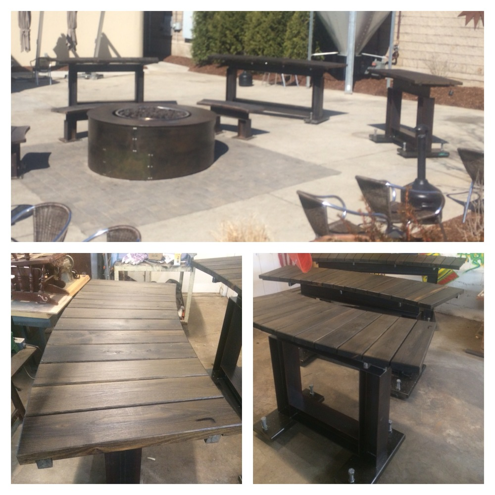 Custom firepit and I beam furniture