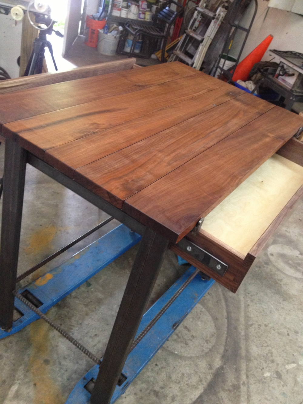 Wood and steel kitchen island