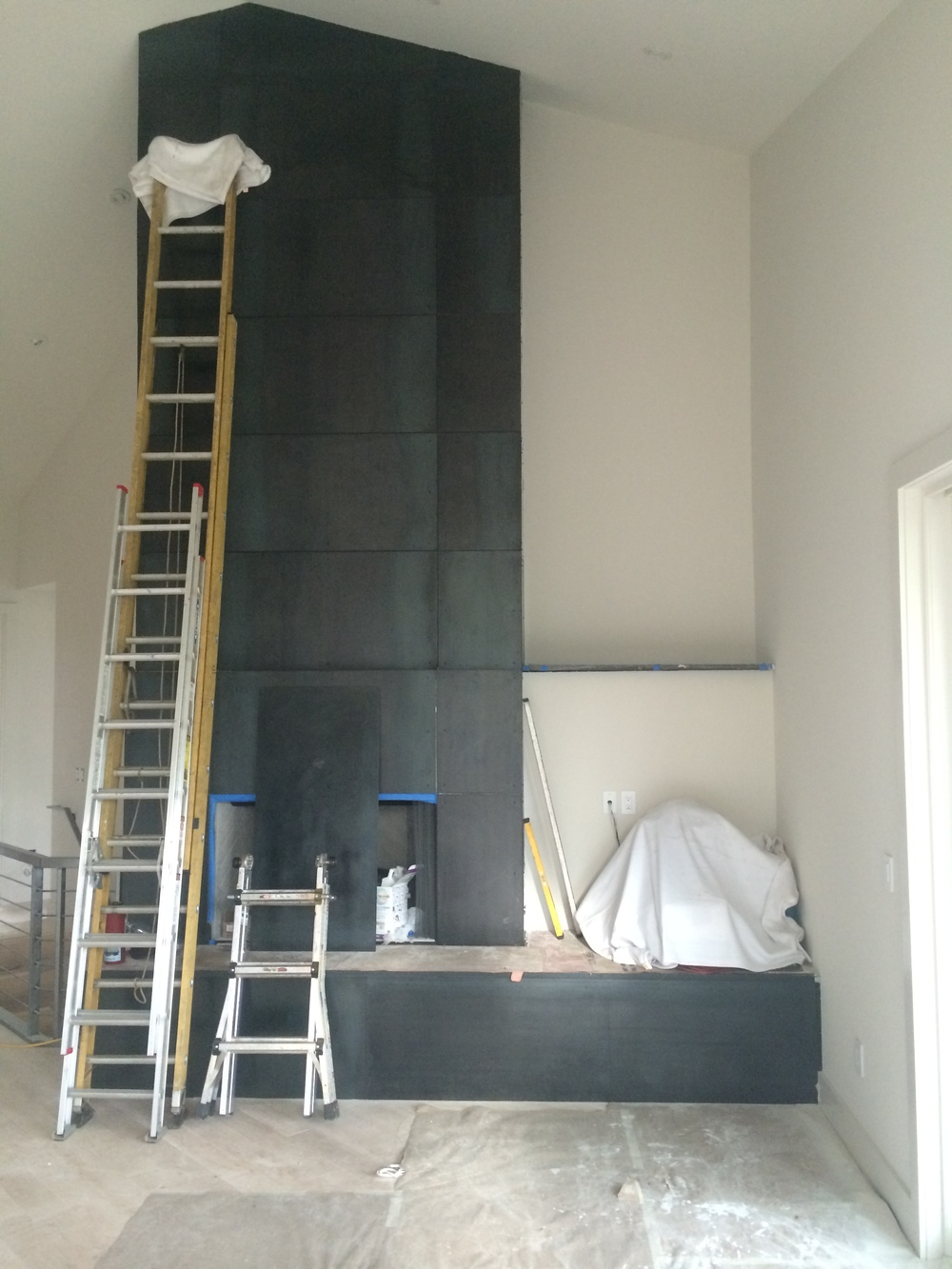 Custom steel fireplace surround