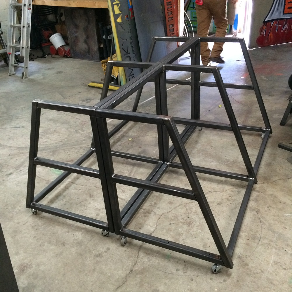Steel roller table frames