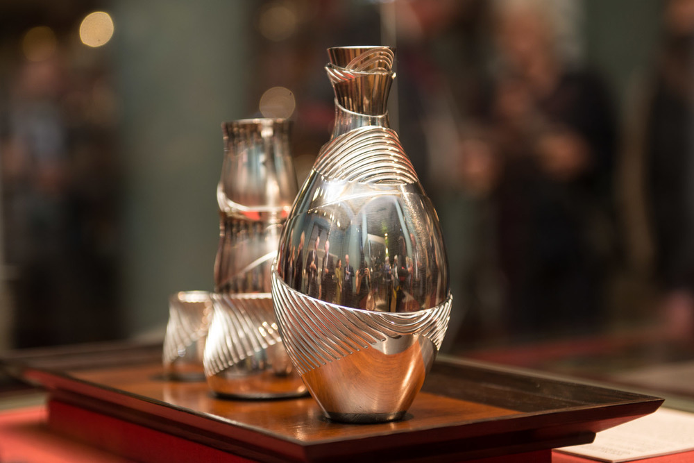 Silver Sake Set permanent collection at the V &A Museum, 2013.