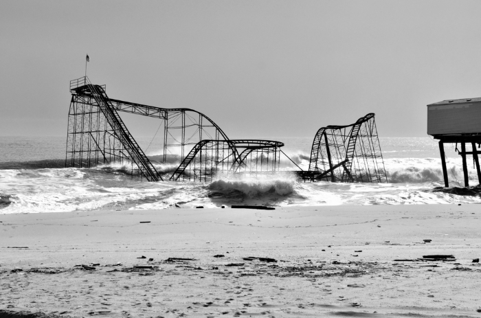 The Seaside heights New Jersey Boardwalk Roller Coaster, destroyed by Hurricane Sandy