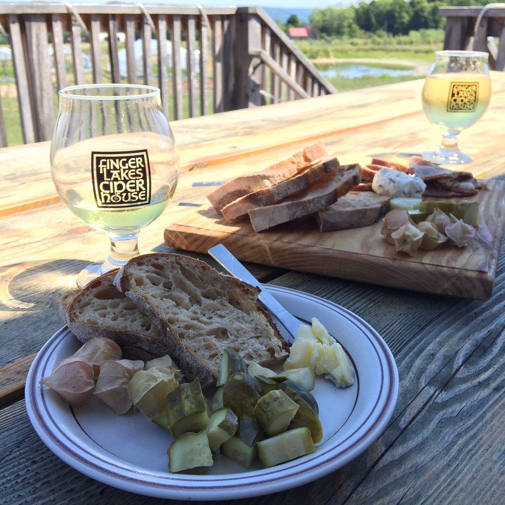 FLX Cider House cheese and charcuterie board. Complete with ground cherries!
