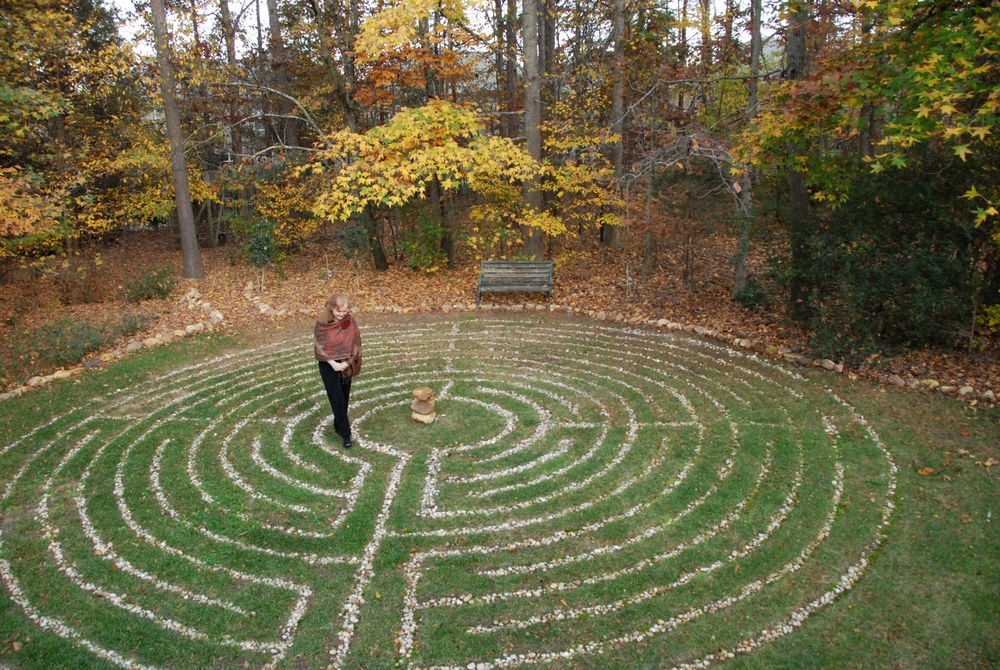 "The labyrinth in Catherine's back yard. It is a ""living"" labyrinth which means it changes with the seasons, much like our lives."