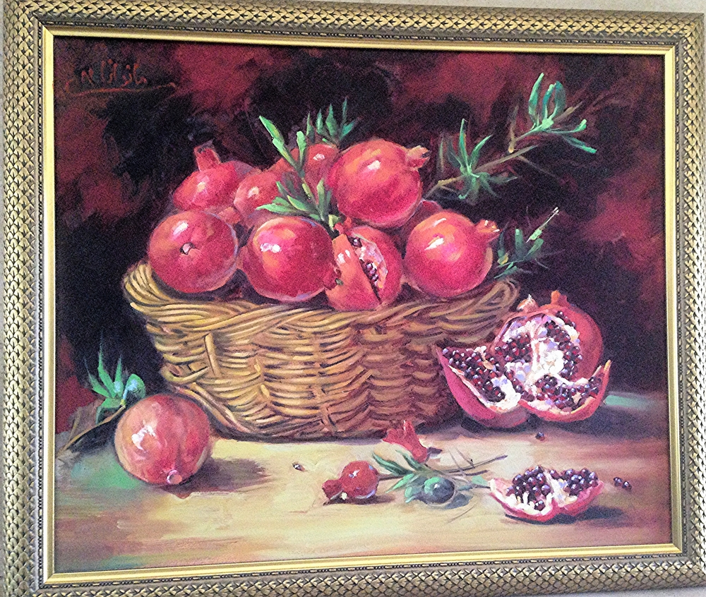 BASKET OF POMEGRANATES, OIL ON CANVAS, 2003