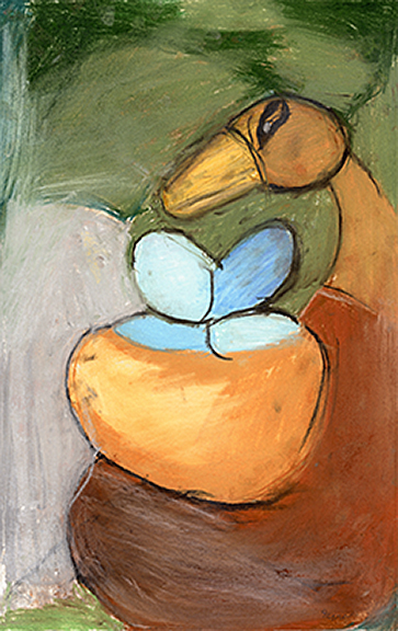Bird and Blue Eggs , 2003 Soft pastel on paper, Framed 11 ¾ x 18 ½ in.
