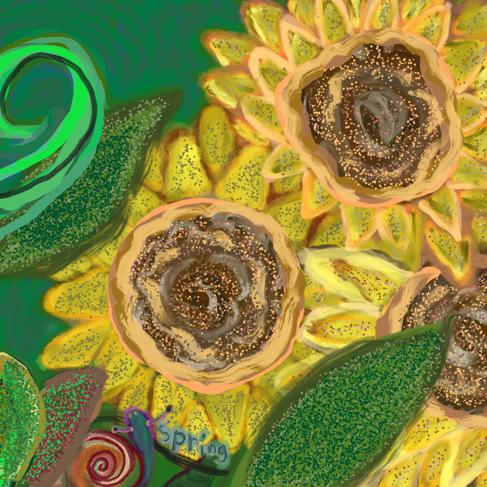 Spring of Sunflowers,  2016 iPad drawing Dimensions variable