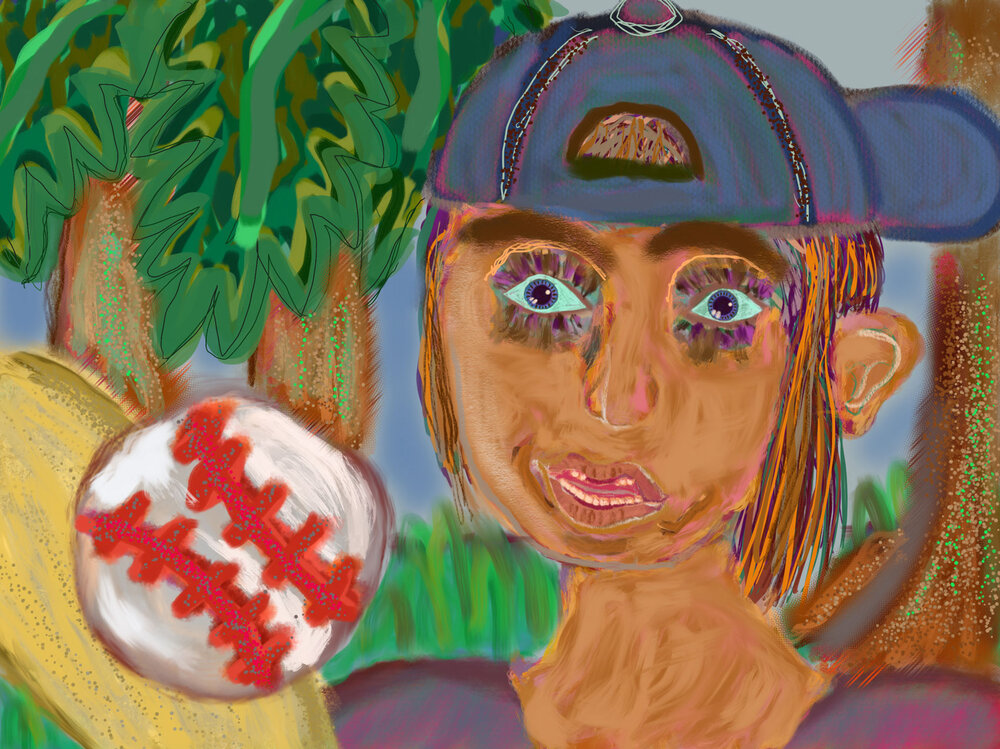 Playing Baseball,  2016 iPad drawing Dimensions variable