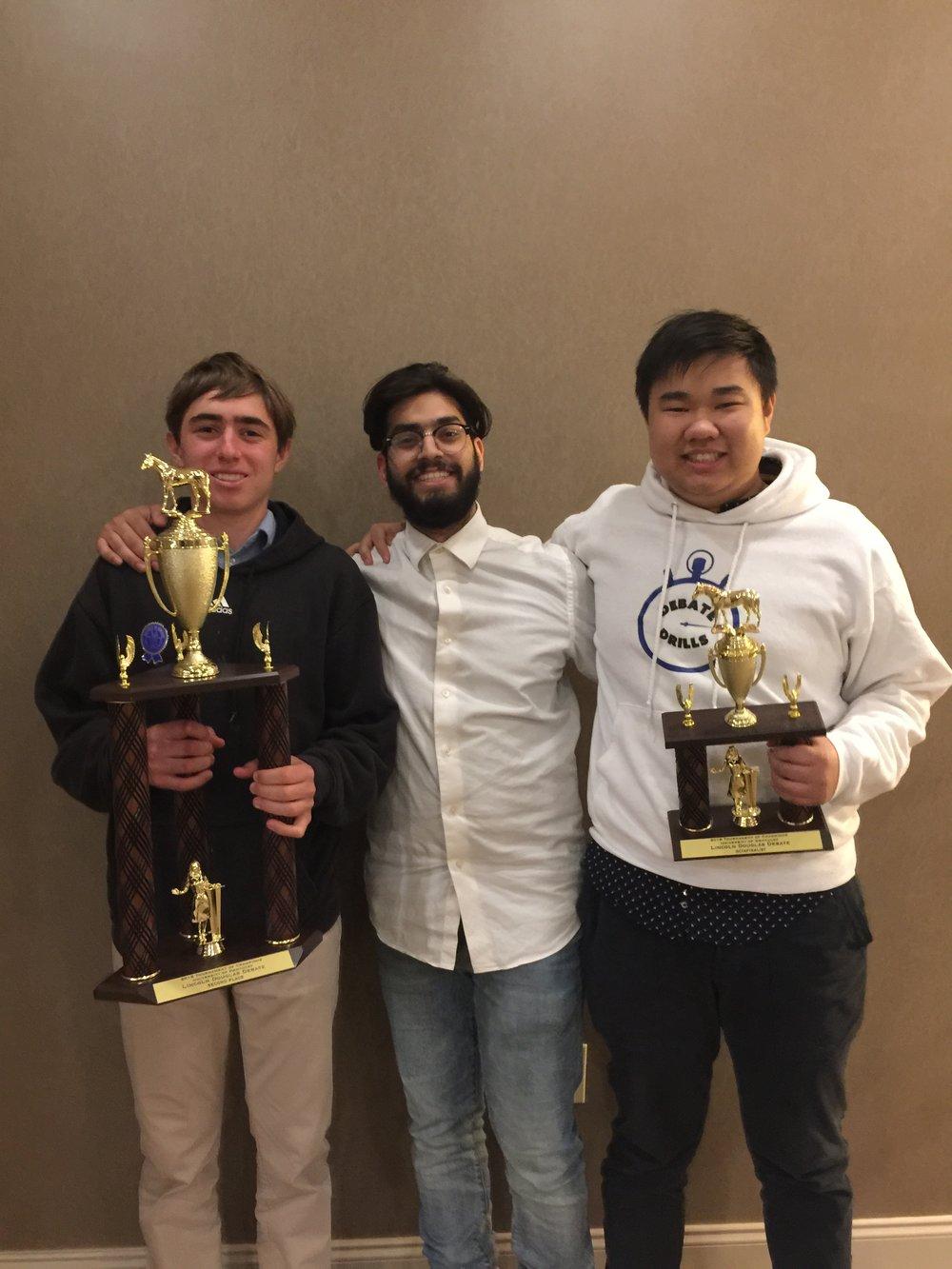 Rex Evans (Santa Monica High School) and Eric Deng (San Marino High School) celebrate a successful 2018 TOC.