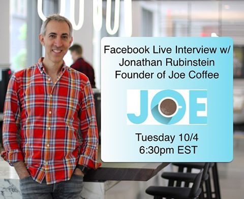 Join the group on facebook (link in bio) and I'll alert you when we're going live. Or, if you're in NY, Message me and I'll let you know where it is!  Jonathan Rubinstein started Joe Coffee in 2003, and it has been consistently ranked as one of the best coffee shops in NYC.  Tune in to hear how he did it!
