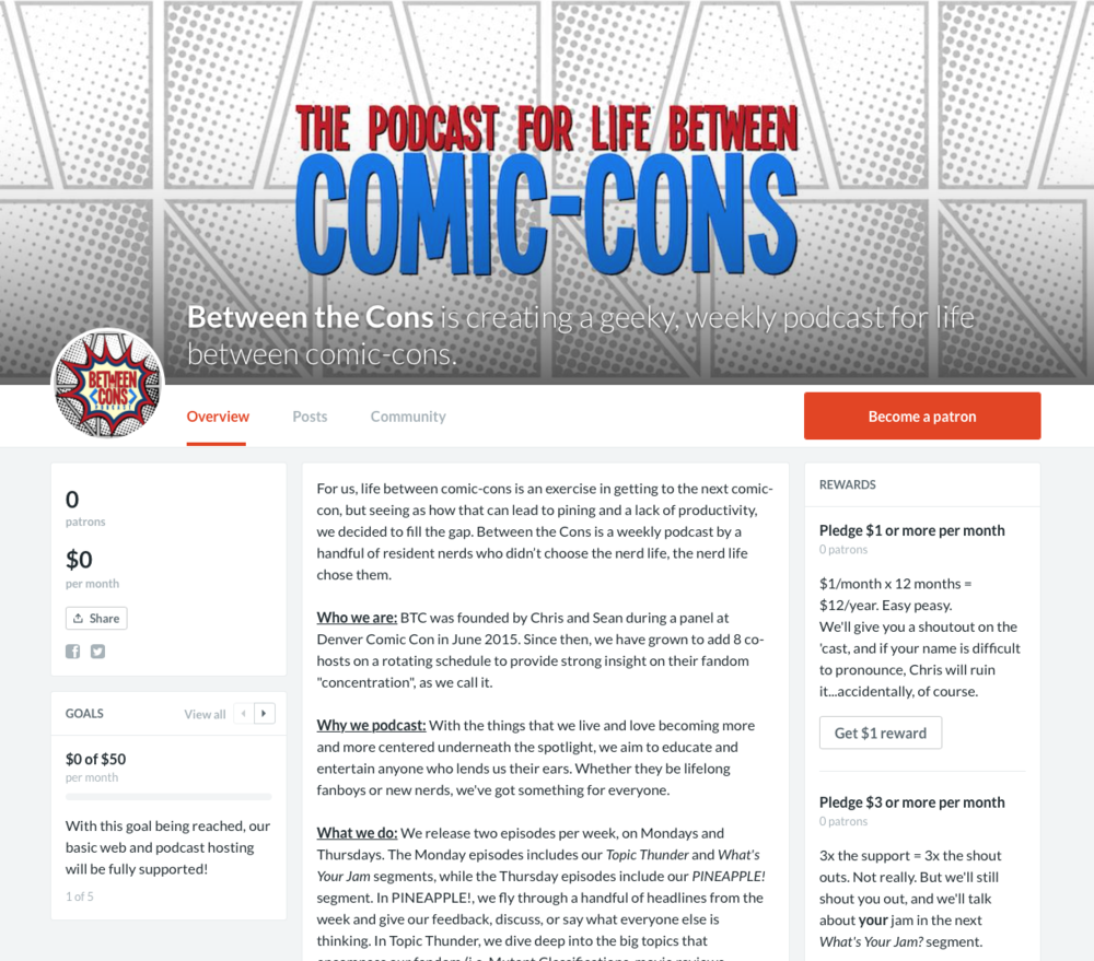 This is what our Patreon site looks like. Click the image to go there.
